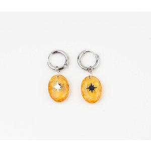 """Earring """"Domo"""" orange / silver"""