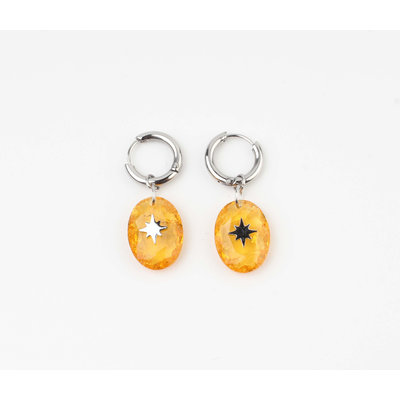 "Earring ""Domo"" orange / silver"