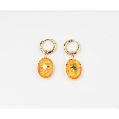 "Earring ""Domo"" orange / gold"