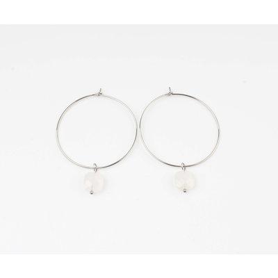 "Earring ""Xero"" white / silver"