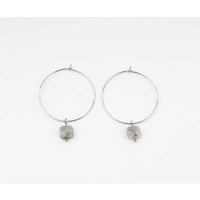 "Earring ""Xero"" green / silver"