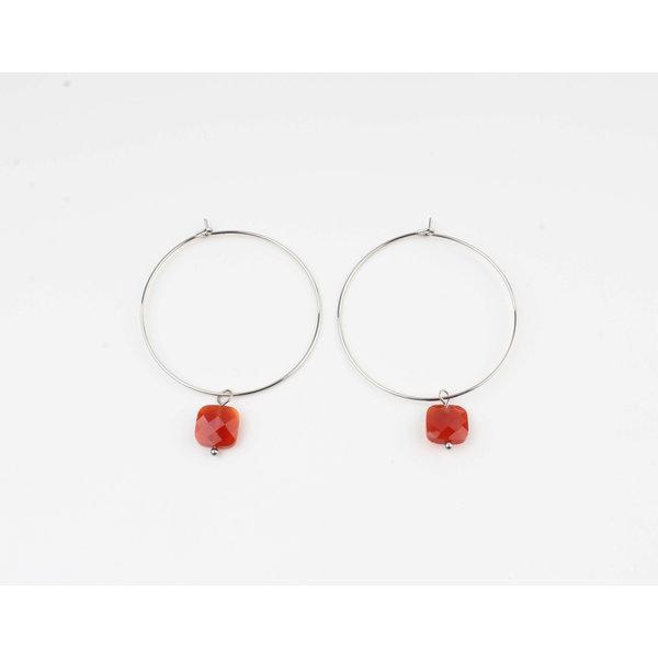 """Earring """"Xero"""" red / silver"""