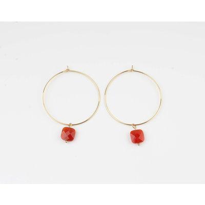 "Earring ""Xero"" red / gold"