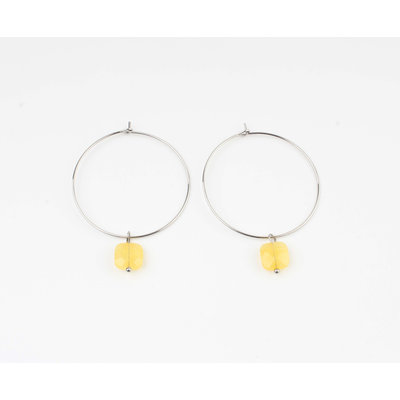 "Earring ""Xero"" yellow ocher / silver"