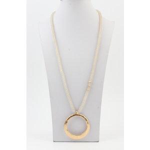 """Long necklace """"Fox"""" cream / gold"""