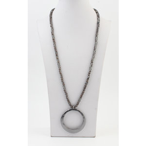"""Long necklace """"Fox"""" gray / anthracite"""