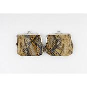 """Clipping purse """"Seal"""" ocher / black lacquer"""