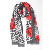"""Scarf """"Ailin"""" gray / red"""