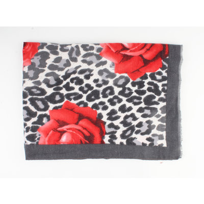 "Scarf ""Ailin"" gray / red"