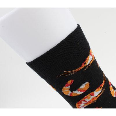 "Socks ""Flora"" black / orange"