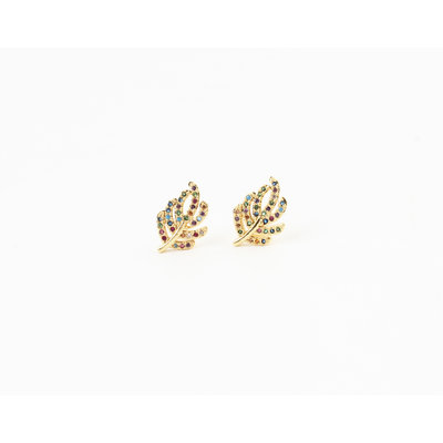 """Earring """"Quilla"""", gold / multi"""