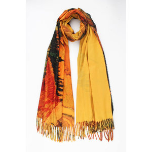 "Scarf ""Oficina"" ocher yellow / multi"