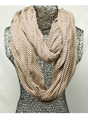 Jersey scarf loop light brown striped 413828