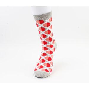 """Heren sokken """"Caledonia"""" grijs/rood"""