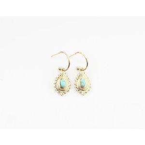 "Earring ""Magnolia"" gold / turquiose"