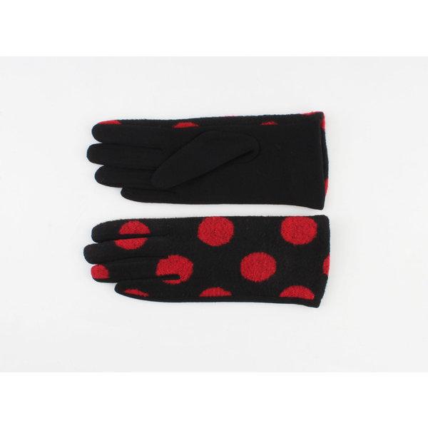 """Handschoen """"Livia"""" zwart/rood"""