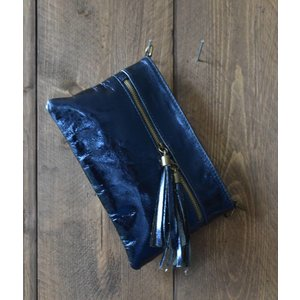 "Clutch ""Metallic"" blauw"