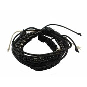 Armband | Leather | Set | Black
