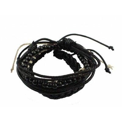 Armband   Leder   Set   Black