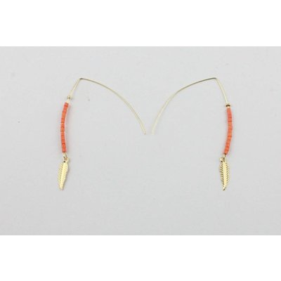Earring | Feather | Red - Gold