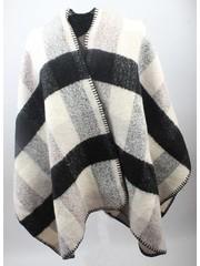 Omslagdoek, ruit zwart wit grijs