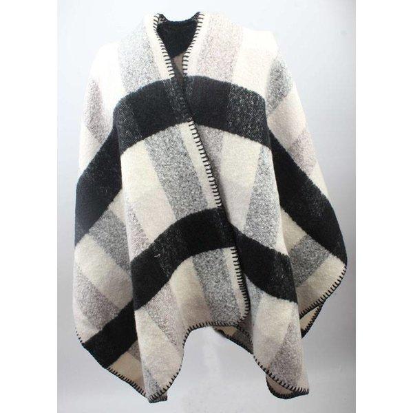 Omslagdoek, ruit zwart wit grijs  (812750)