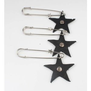 Speld leather star per 3pcs
