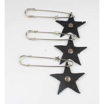 Speld leather star per 3pcs (382619)