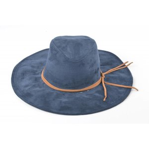 Flaphoed suede donker blauw