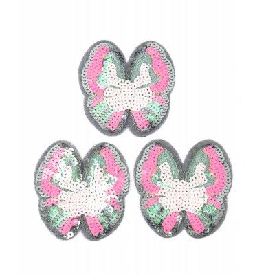 Patch pajetten vlinder, per 3st. (382656)