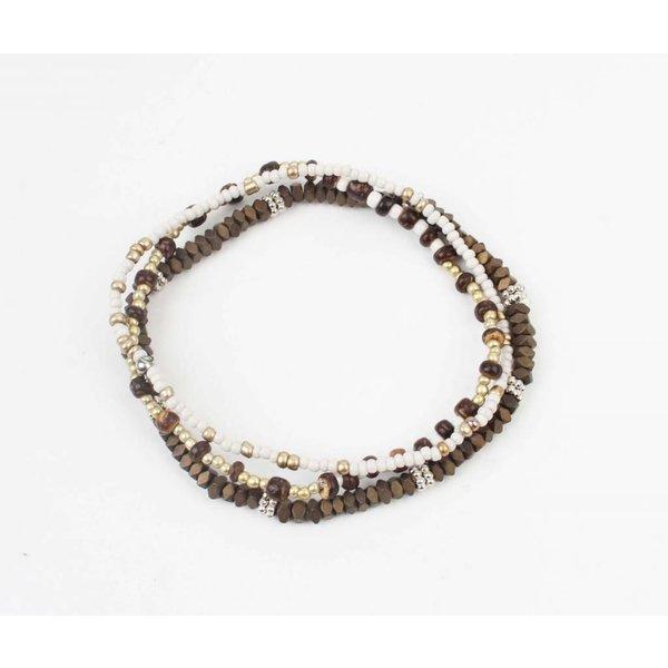 Armband kralen bruin/wit (327801)