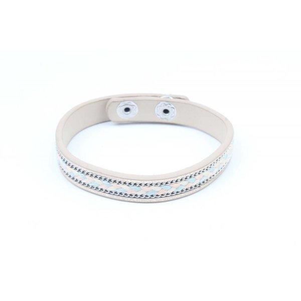 Armband inleg vlecht & ketting grijs (327819)
