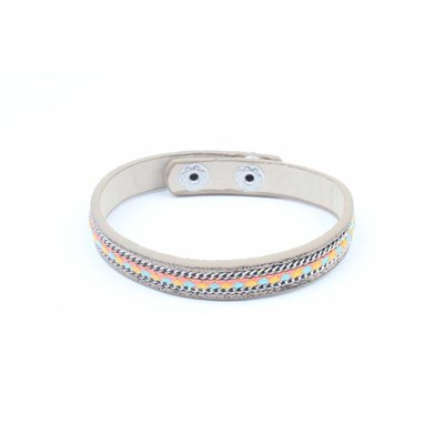 Armband inleg vlecht & ketting bruin (327819)