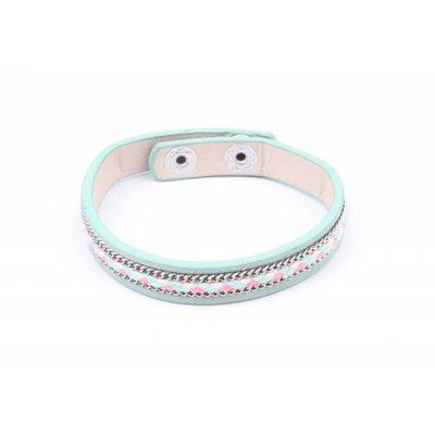 Armband inleg vlecht & ketting groen (327819)