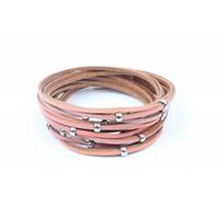 Wikkelarmband reepjes & ringen rood