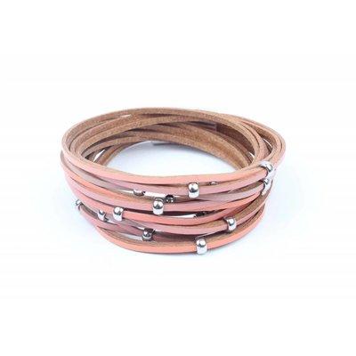 Wikkelarmband reepjes & ringen rood (327823)