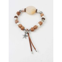 Armband grote ronde steen bruin