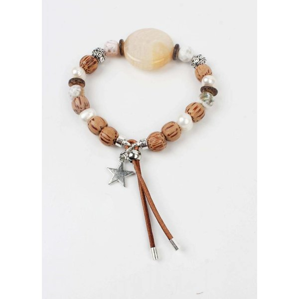 Armband grote ronde steen bruin (327853)
