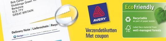 Avery® 2 in 1 BlockOut™ Verzendetiketten & Coupon