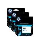 HP 711 inktcartridge cyan - per 3 stuk (CZ134A)