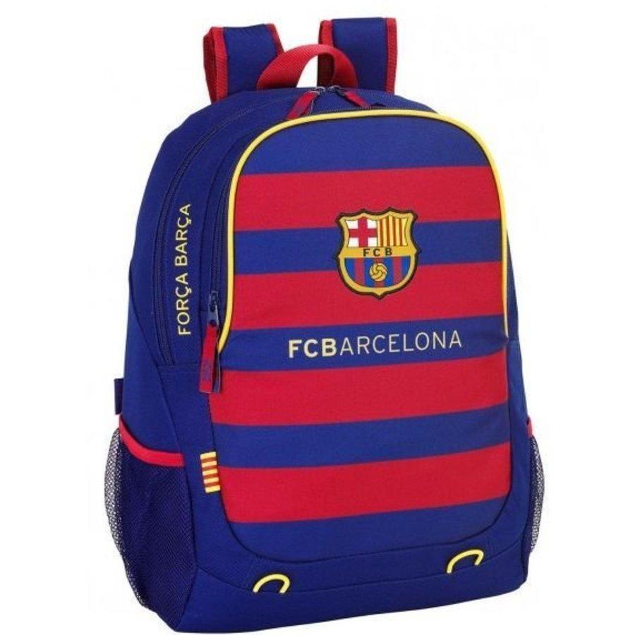 Rugzak barcelona rood/blauw stripes: 44x32x16 cm (611529665)