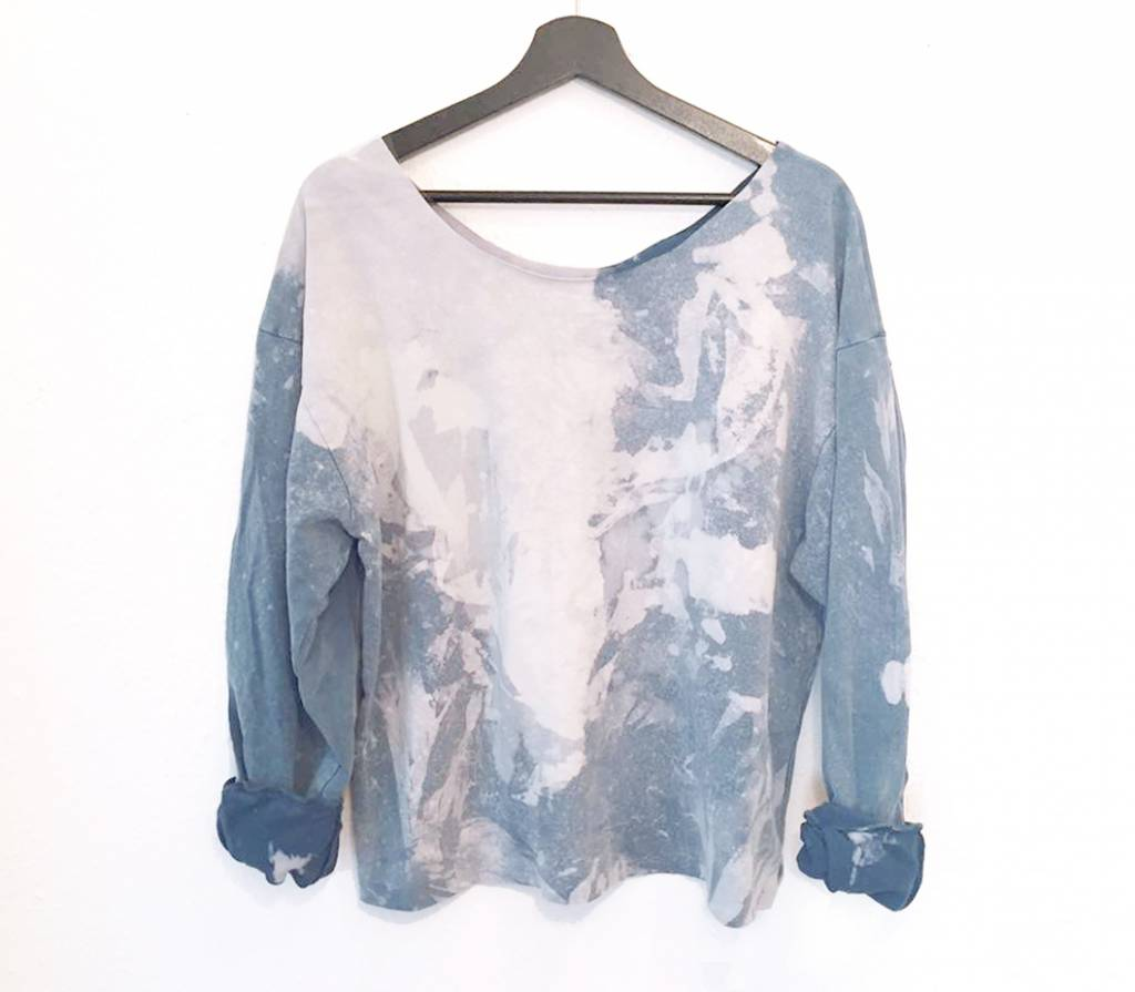 MESH DIVINE LOGO SWEATER ACID WASHED BLAU