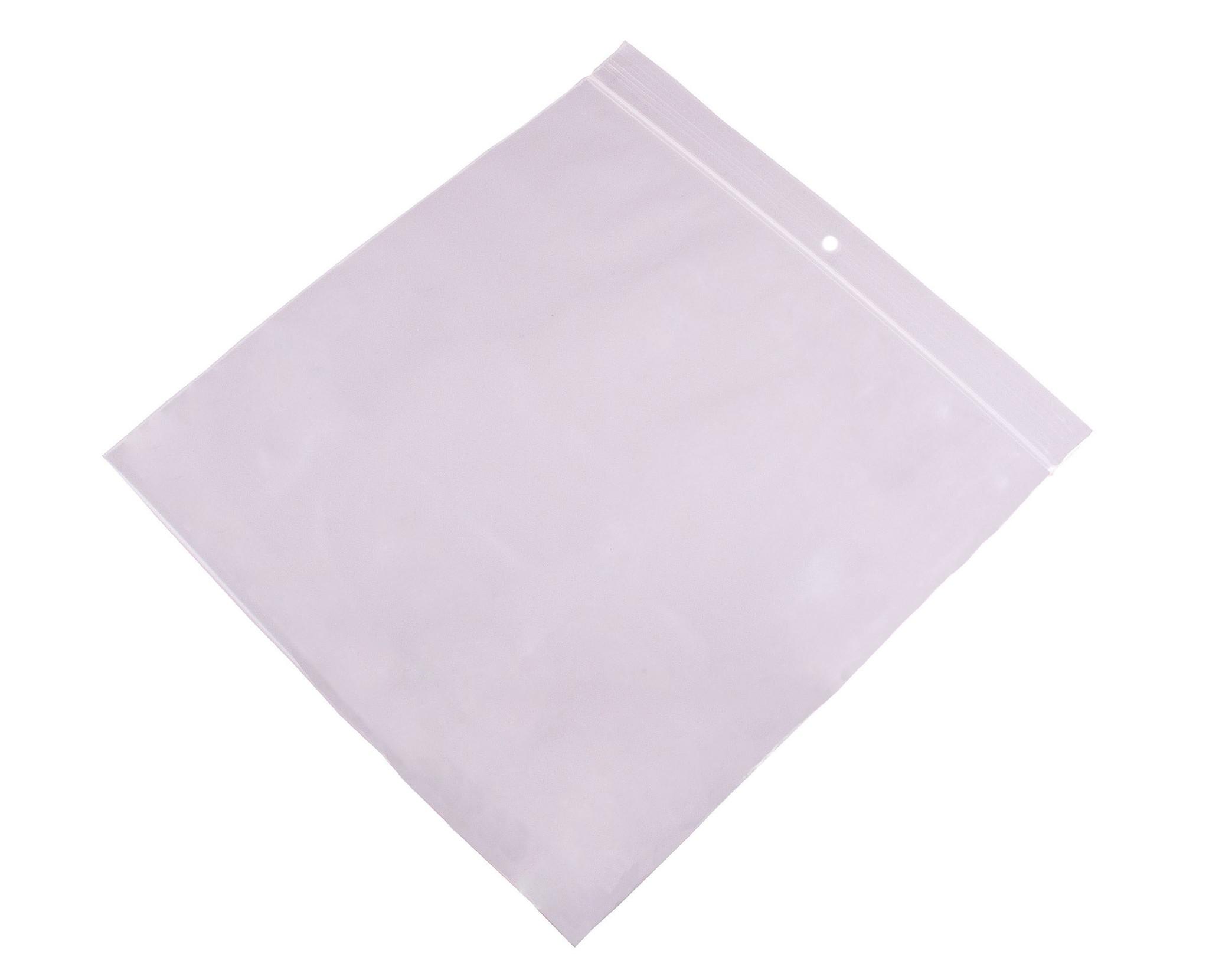 Gripzakken transparant extra sterk 400 x 400 mm uit 90 micron LDPE pakje van 100 stuks