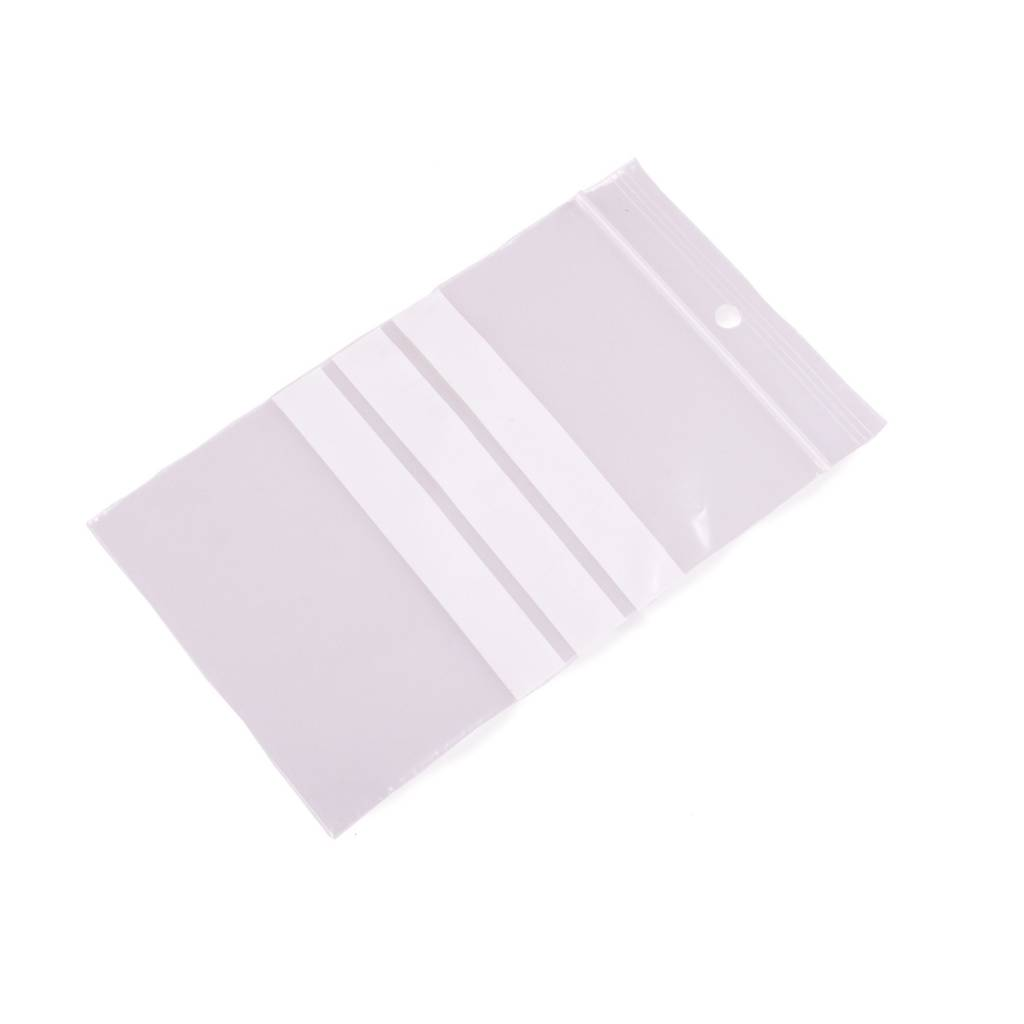 Gripzakken met schrijfvlakken 70 x 100 mm uit 50 micron LDPE pakje van 1000 stuks
