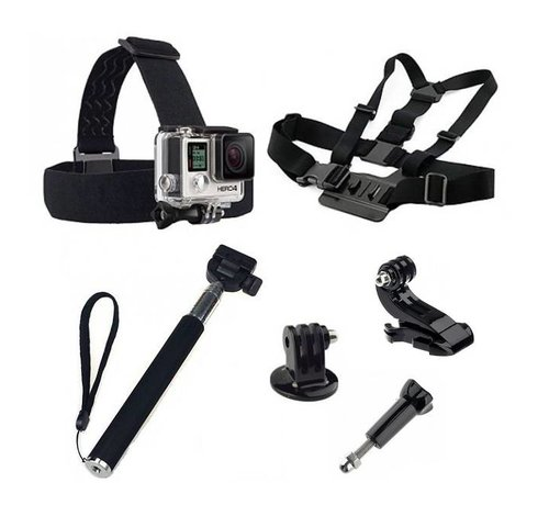 5 in 1 GoPro Accessoires Set met Selfie Stick , Chest Mount en Head Strap voor GoPro Hero 3 4 5  6