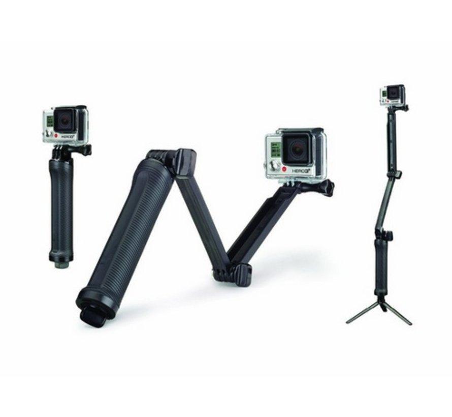 3-Way Pole | Monopod, Tripod en Handvat (3in1) voor GoPro en andere sportcams