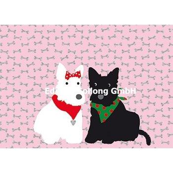 SALE Postkarte Rosa Knochen Hundepärchen