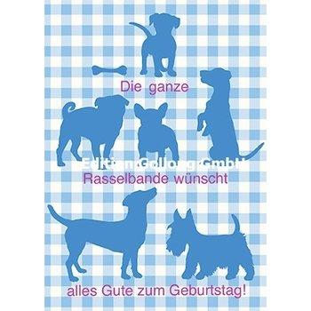 SALE Postkarte Hunde Happy Birthday Bayerisch