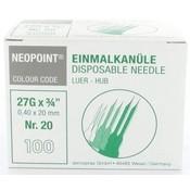 Servoprax Neopoint naalden 0,4 x 20 mm doos 100 st.(grijs)
