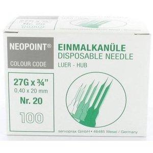 Servoprax Neopoint naalden 0,4 x 12 mm doos 100 st.(grijs)